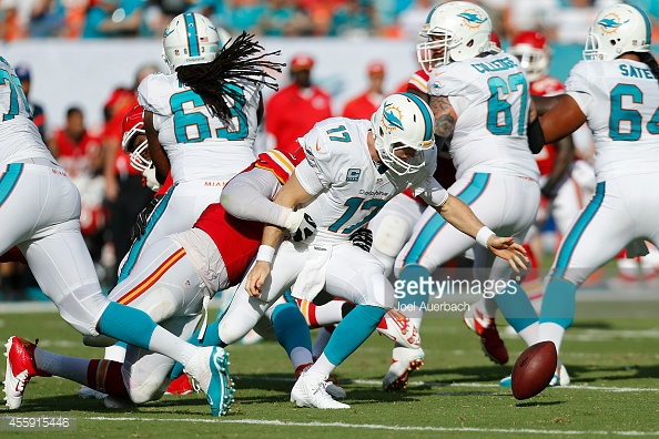 MIAMI GARDENS, FL - SEPTEMBER 21: Ryan Tannehill #17 of the Miami Dolphins fumbles and then recovers the ball after being hit by Tamba Hali #91 of the Kansas City Chiefs on September 21, 2014 at Sun Life Stadium in Miami Gardens, Florida. The Chiefs defeat the Dolphins 34-15. (Photo by Joel Auerbach/Getty Images) *** Local Caption *** Tamba Hali;Ryan Tannehill